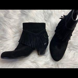 Gianni Bini Tassel Black Leather Heeled Bootie